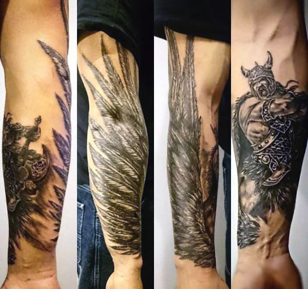 Warrior Battle Wing Tattoos For Men On Wrist