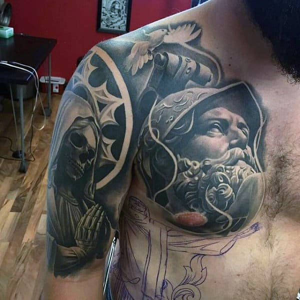 Warrior Black Ink Guys Chest And Half Sleeve Tattoos