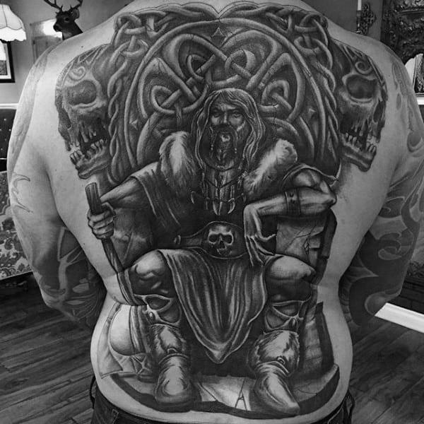 Warrior Celtic Knot Full Back Tattoos For Men