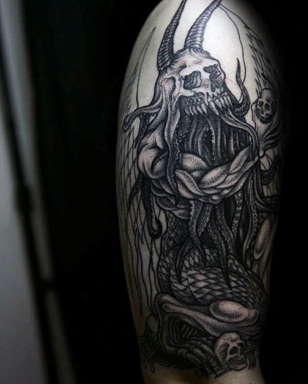 Warrior Cthulhu Skull Mens Arm Tattoos