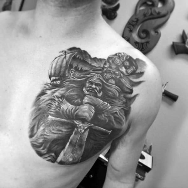 Warrior Guys 3d Heavily Shaded Chest Cover Up Tattoo Designs