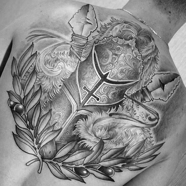 Warrior Helmet Coolest Tattoos For Men On Upper Back With Grey And Black Ink