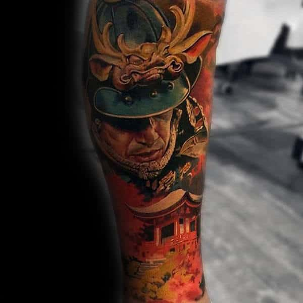 Warrior Insane Guys Colorful Sleeves Tattoos