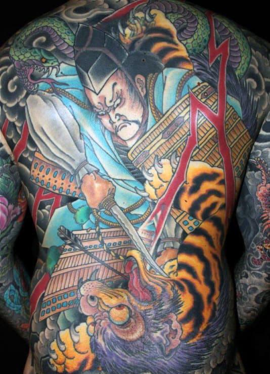 Warrior Japanese Tiger Mens Full Back Tattoos