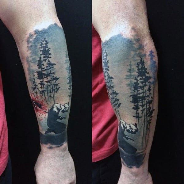 Warrior Nature Forearm Sleeve Tattoo For Men