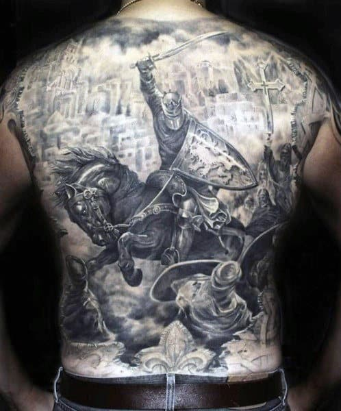 Warrior Riding Horse In Combat Crazy Male Full Back Tattoos