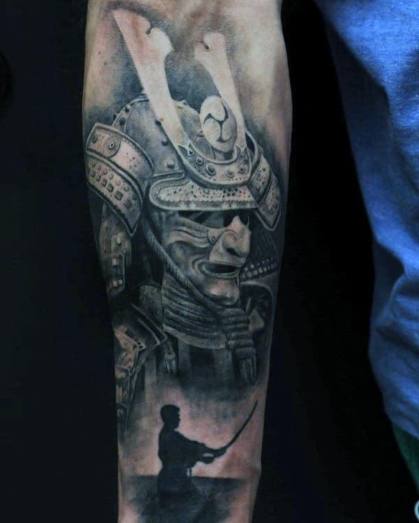 Warrior Samurai Helmet Guys Inner Forearm Tattoos