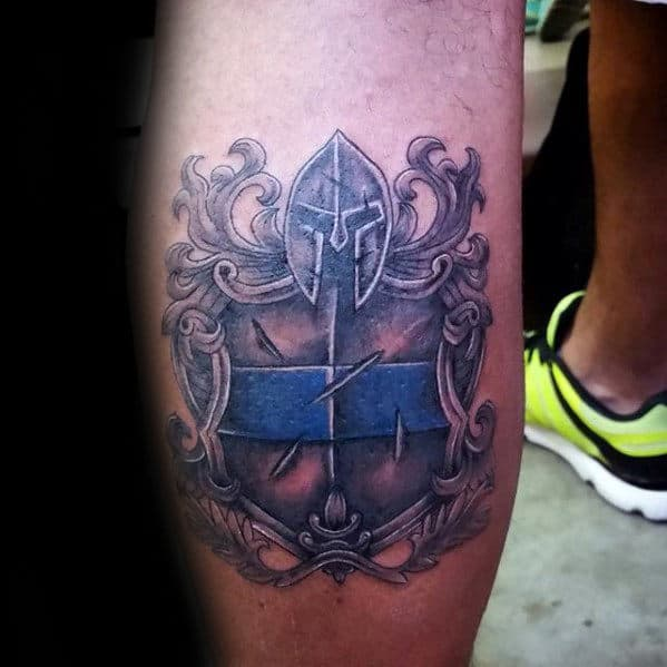 Warrior Sheild Thin Blue Line Leg Calf Tattoos For Men