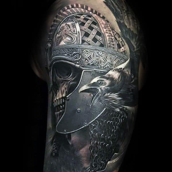 Warrior Skull 3d Realistic Arm Coolest Tattoos For Men