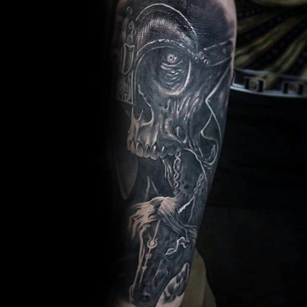 Warrior Skull Guys Unique Arm Sleeve Tattoo Designs