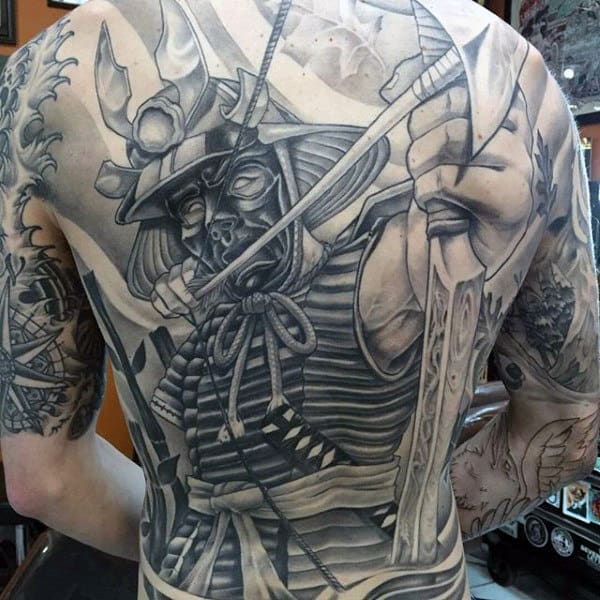 Warrior With Arrow And Bow Mens Crazy Full Back Shaded Tattoo
