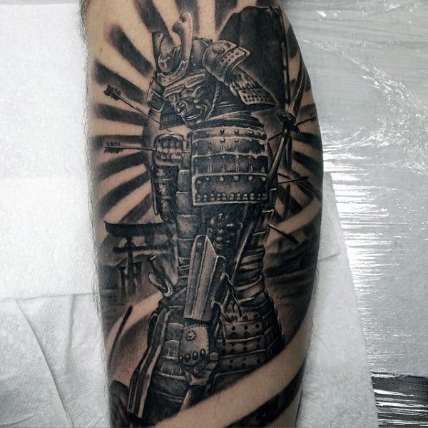 Warrior With Cold Steel Protection Tattoo Male Legs