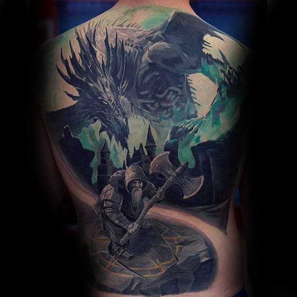 Warrior With Dragon Insane Full Back Male Tattoo Ideas