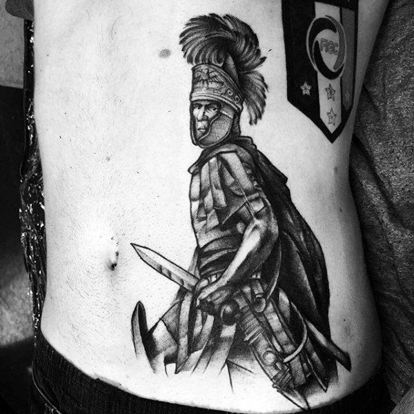 Warrior With Feathered Bonnet Tattoo Mens Side Ribs