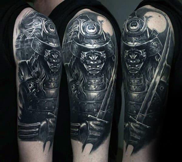 Warrior With Samurai Helmet And Sword Mens Half Sleeve Tattoos