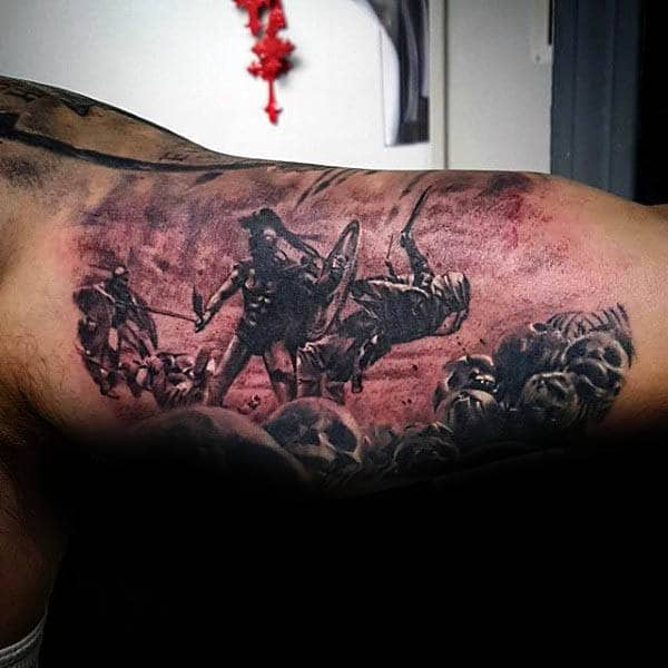 Warrior With Spear Mens Inner Arm Tattoos