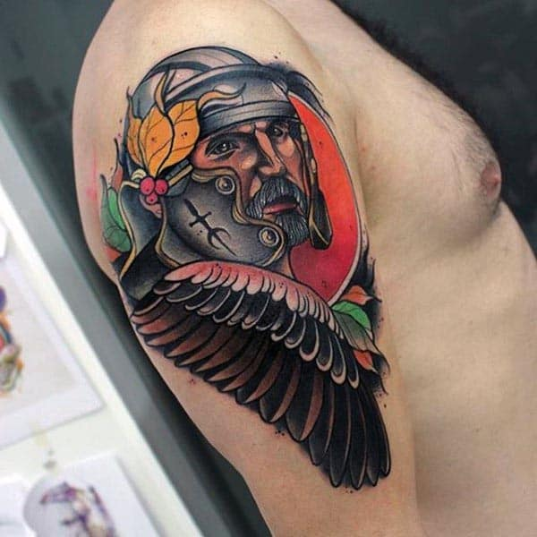 Warrior With Wing Cool Guys Arm Tattoos