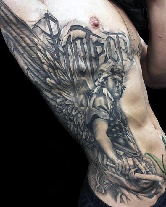 Warrior With Wings Unique Chest And Rib Cage Side Mens Tattoo