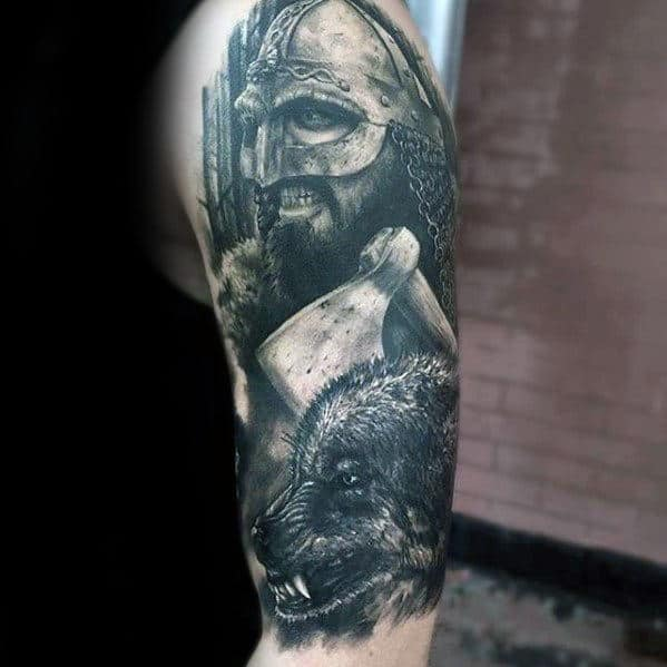 Warrior With Wolf Awesome Guys Half Sleeve Tattoo Inspiration