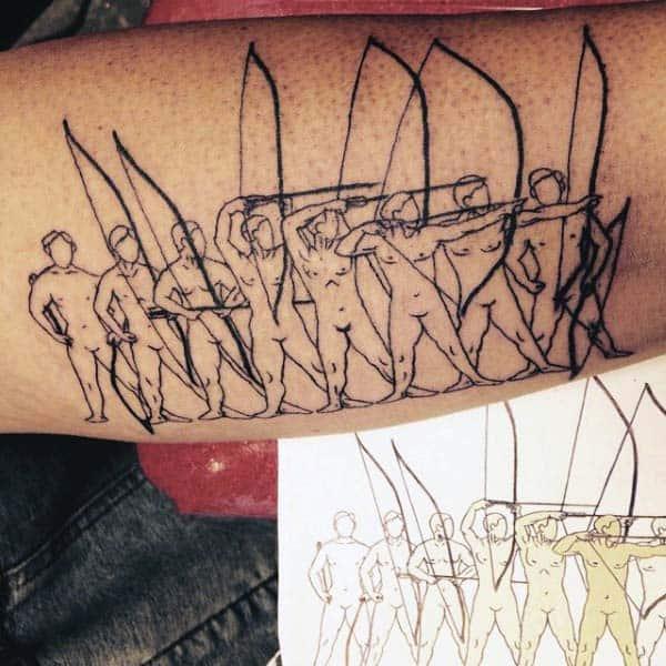 Warriors Outline Archery Tattoos For Gentlemen