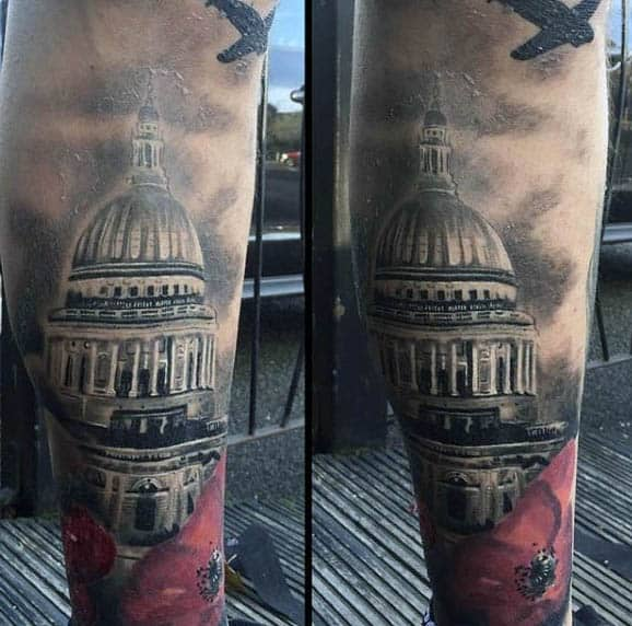 Washington Poppy Flower Sleeve Tattoo For Gentlemen