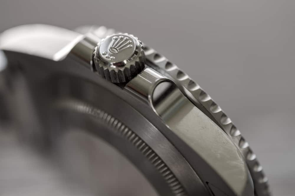 close up of watch crown assembly
