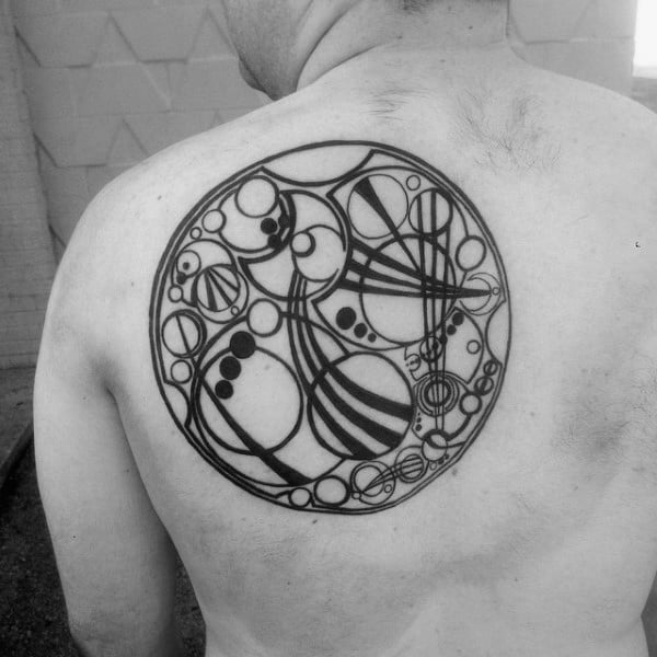 Watch Movement Circle Mens Upper Back Tattoo