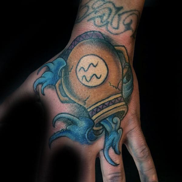 Water Carrier Male Aquarius Hand Tattoos