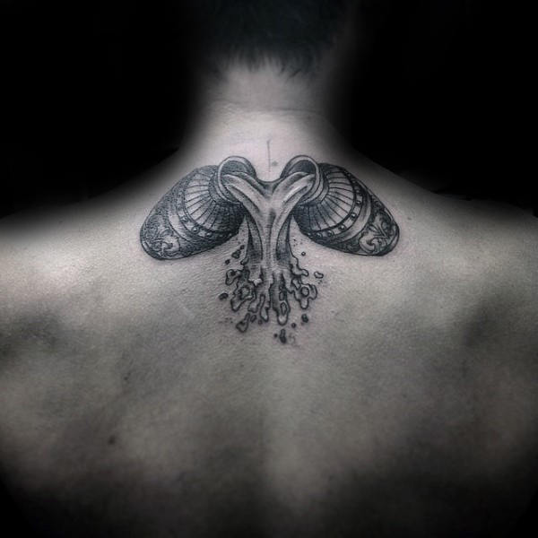 Water Carrier Mens Upper Back Aquarius Tattoos