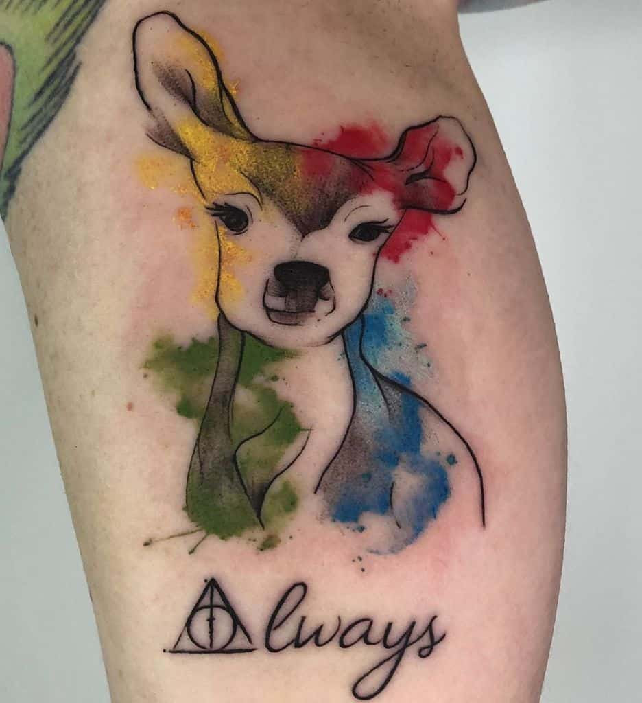 water color doe deathly hallows tattoo
