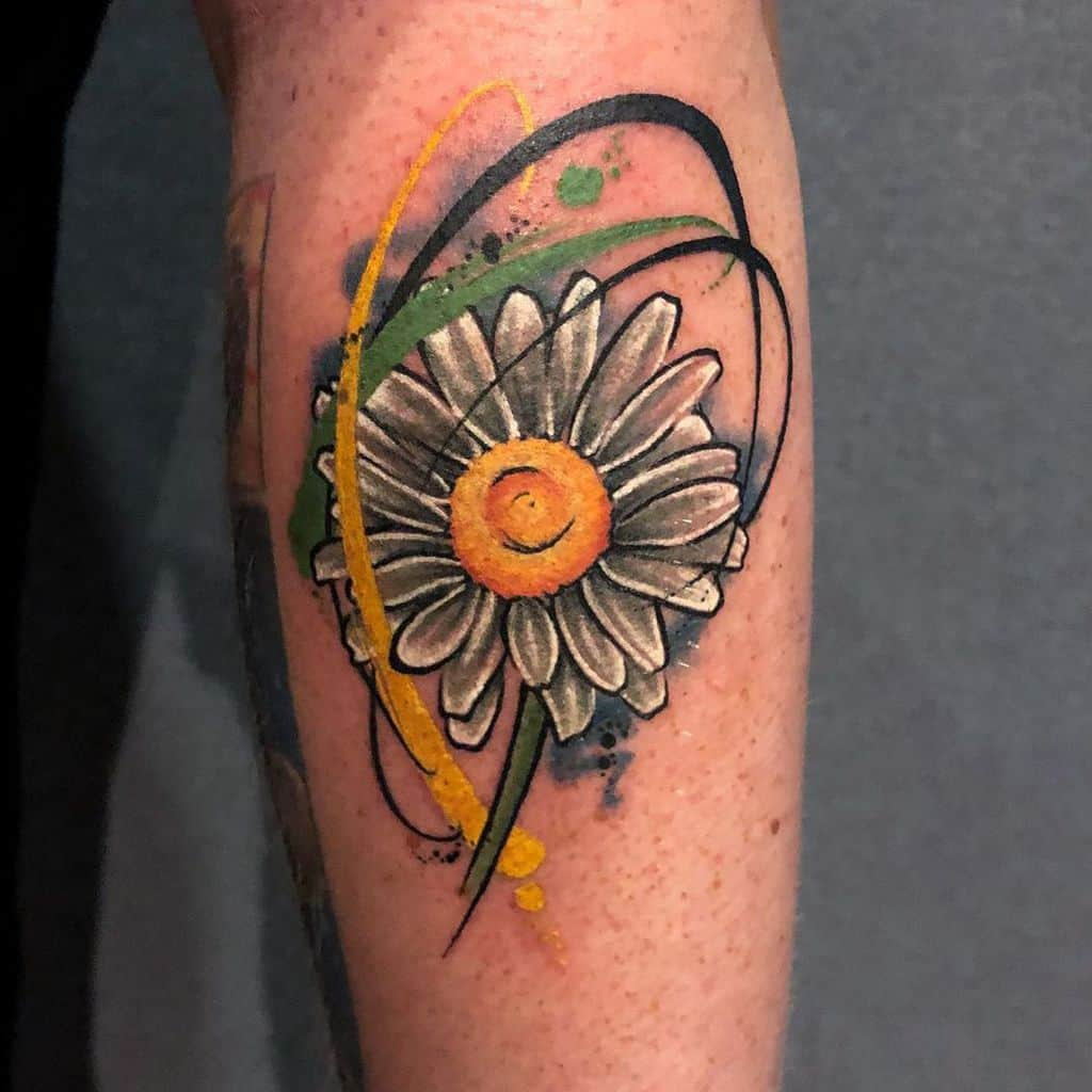 Forearm tattoo surreal water color swirling daisy