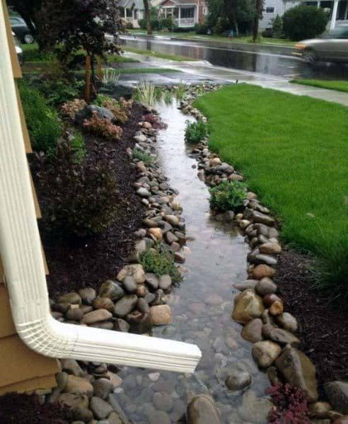 Water Drainage Ideas For River Rock Landscaping