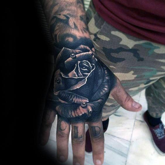 Water Droplet On Rose Flower Guys 3d Hand Tattoo