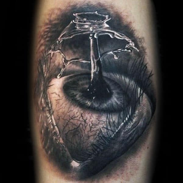 Water Droplet Splashing Eye Mens 3d Realistic Detailed Arm Tattoo