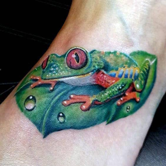 Water Droplets On Leaf With Frog Guys Realistic Arm Tattoos