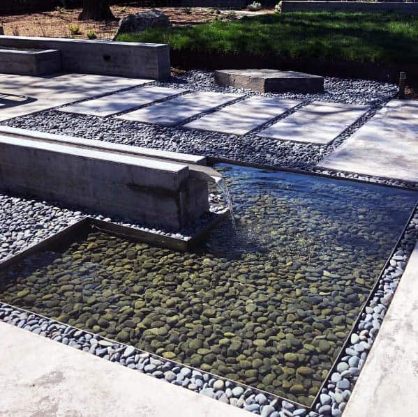 Water Feature River Rock Landscaping Exterior Ideas