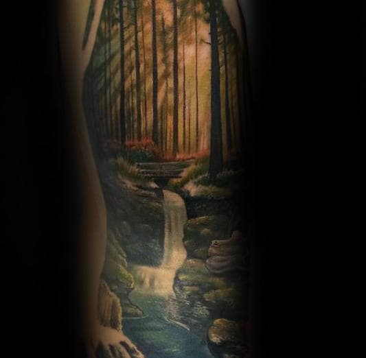 Water Flowing Through Nature Forest Landscape Tattoo On Gentleman