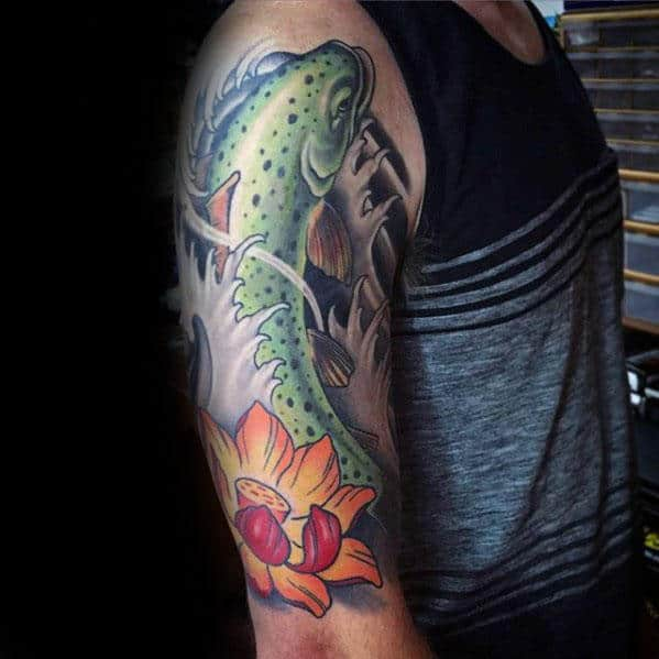 Water Lily Flower With Trout Mens Japanese Arm Tattoo