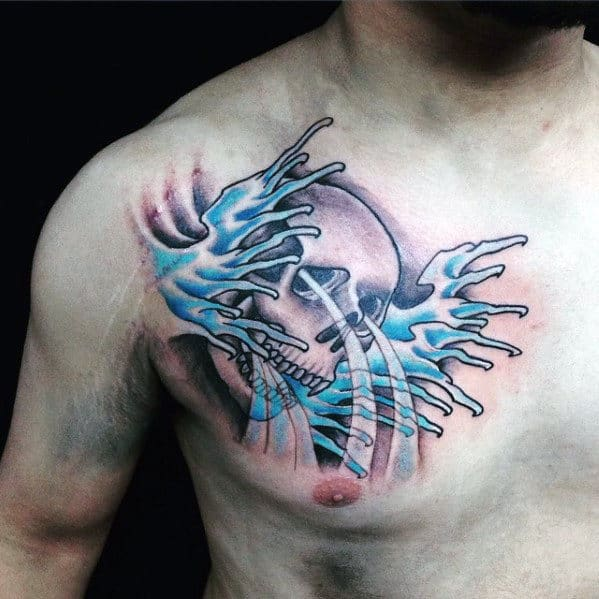 Water Splashing From Skull Male Japanese Chest Tattoo