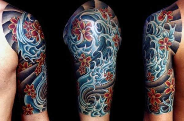 Water Waves Japanese Half Sleeve Tattoo Ideas For Men