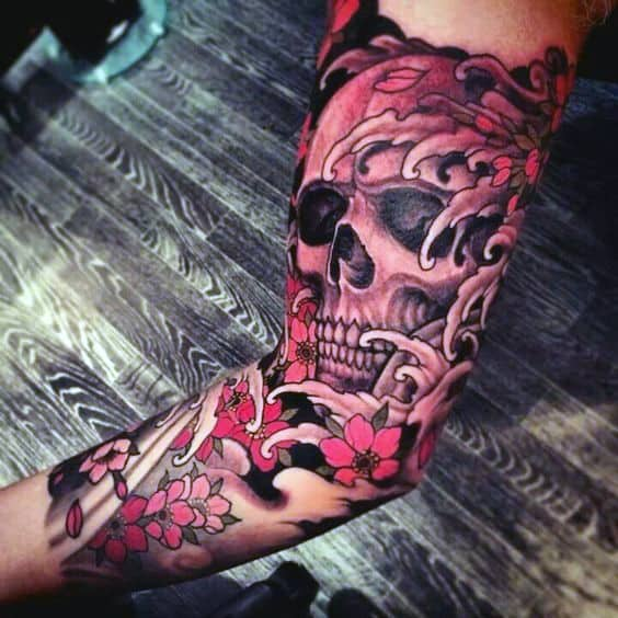 Water Waves Japanese Skull Mens Sleeve Tattoo