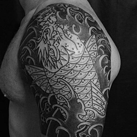 Water Waves Mens Koi Dragon Half Sleeve Shaded Black And Grey Ink Tattoos