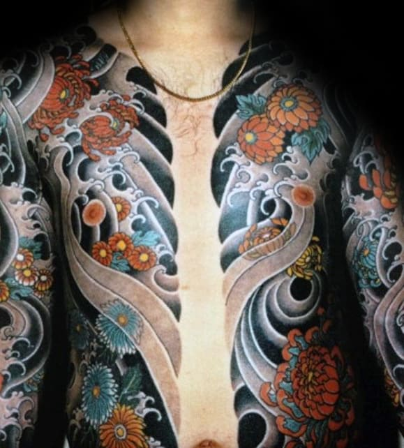 Water Waves With Orange Flowers Guys Japanese Chest Tattoo