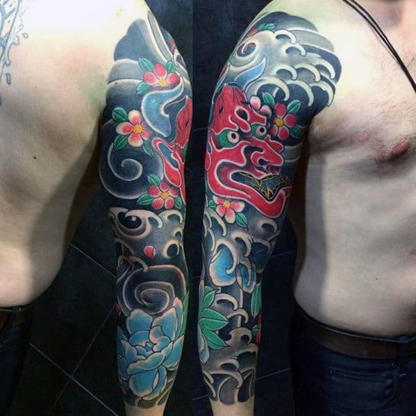Water With Red Demon Mask Guys Japanese Sleeve Tattoos