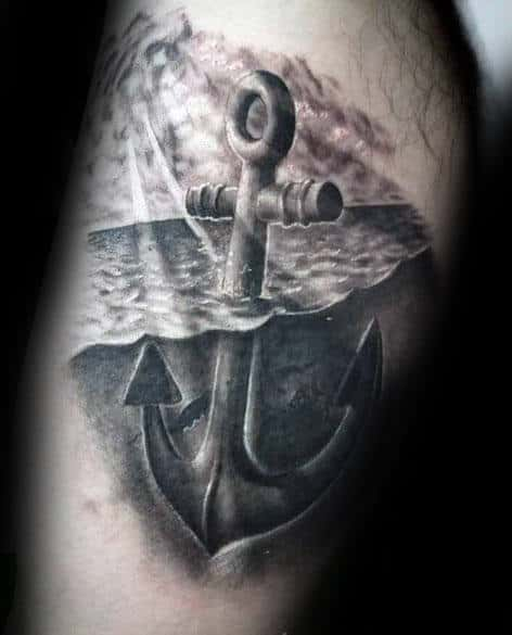 Water With Sun Rays Realistic Anchor Mens Inner Arm Bicep Tattoo