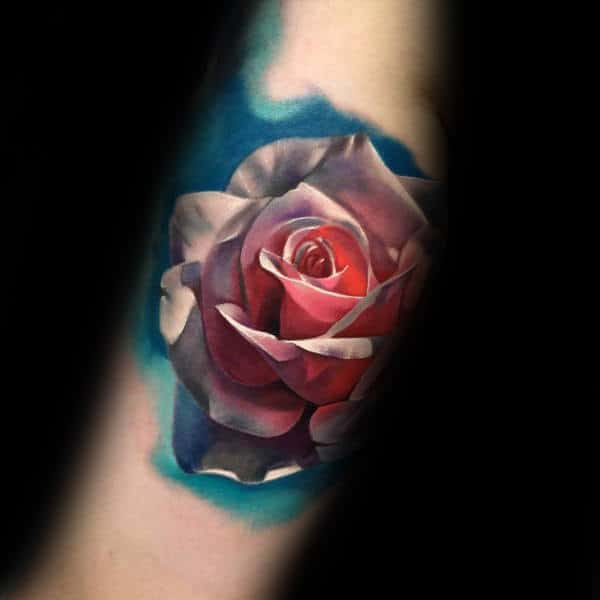 8f285d767b2d2 Watercolor 3d Realistic Mens Rose Flower Forearm Tatto Design Inspiration