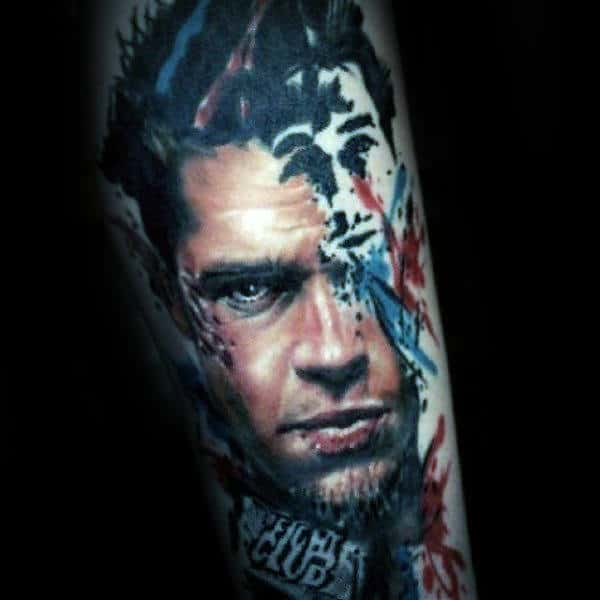 Watercolor Abstract Fight Club Guys Arm Tattoo Inspiration