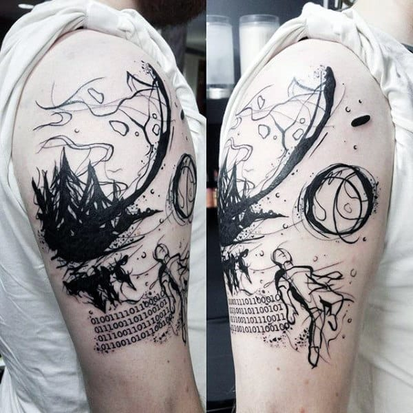 Watercolor Abstract Guys Binary Upper Arm Tattoos