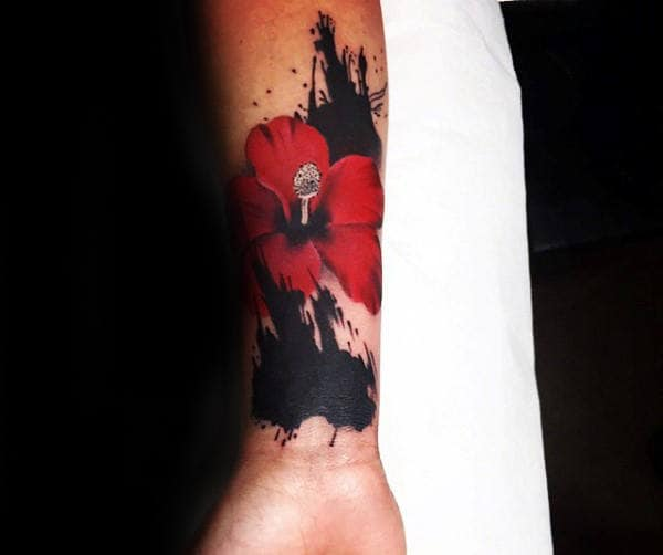 Watercolor Abstract Inner Forearm Hibiscus Tattoos For Men