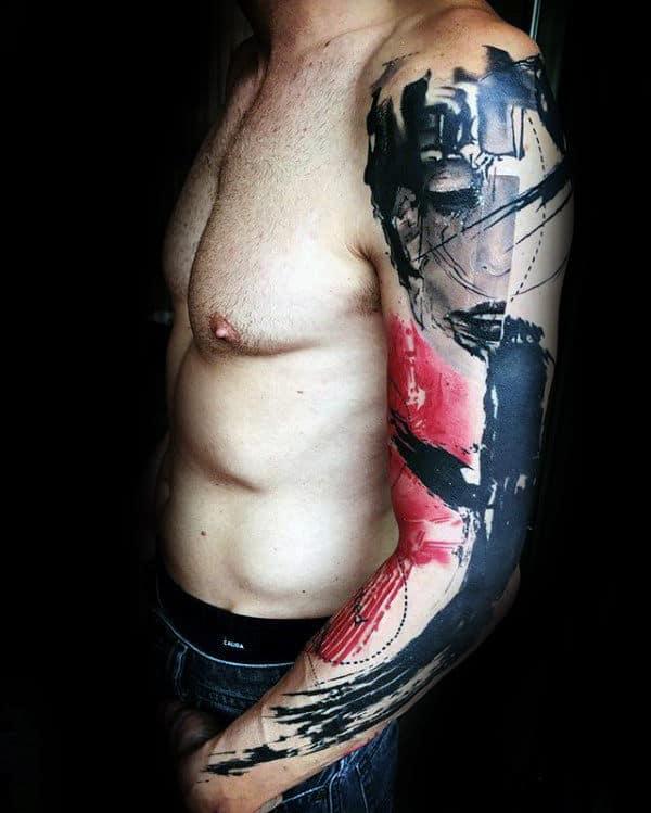 Watercolor Abstract Trash Polka Mens Sleeve Tattoos